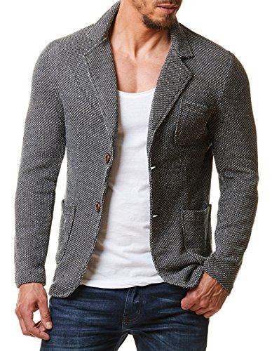 EightyFive Herren Sakko Blazer Meliert Sportlich Slim Fit Schwarz Grau EF1685, Größe:L, Farbe:Grau