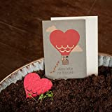"""Hochzeitskarte """"Heißluftballon"""" - Kraftkarton-Glückwunschkarte zum Einpflanzen - Gratulationskarte zur Hochzeit"""