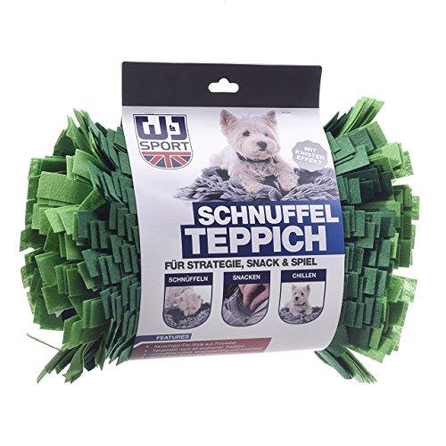 Wallace & Jones  | Schnuffelteppich mit Besonders Hohen Filzstreifen für Hunde Grasgrün