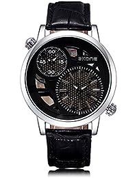 Skone Hombre Dual Time Display Reloj Esfera de color negro piel sintética banda (Negro)