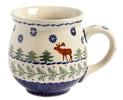 winter-moose-handmade-barrel-mug-manufaktura-w-boleslawiec-genuine-hand-painted-polish-pottery-16-oz