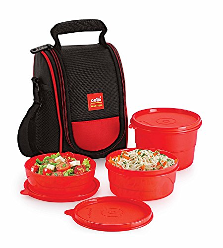 Cello Max Fresh Super Polypropylene Lunch Box Set, 225ml, 3-Pieces, Red