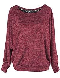 Amazon.fr   Rouge - Pulls, Gilets   Sweat-shirts   Femme   Vêtements 05df1f2129d6