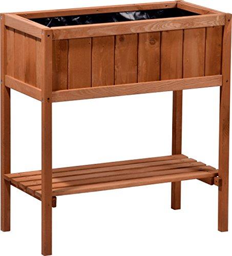dobar Hochbeet aus Holz mit Ablageboden, Frühbeet Bausatz für Gemüse, Kräuter im Garten und Balkon, braun, 76x40x80 cm, 58250e
