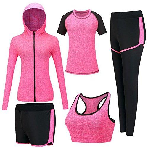 Mujeres 5 piezas Ropa deportiva Elástica Medias Yoga Jogging Chándales (Small, Rosa roja)