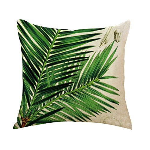 Outflower Funda de cojín con diseño Impreso de Hojas y Plantas Tropicales 45 x 45 cm, para Dormitorio...