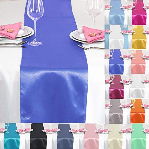 TtS 10X Satin Tischläufer 30x275cm Tischdecke Hochzeit Bankett Dekoration Party -Royal Blue