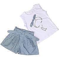 ❥Elecenty 2PCS Mädchen Kleidung Set ,Sommer Outfit Set Ärmellos Bowknot Drucken T-Shirt Tops Hemd+ Plaid Kurze Hosen Bekleidungssets Baby Girl Mode Tägliche Kleidung Pullover
