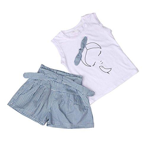 ❥Elecenty 2PCS Mädchen Kleidung Set ,Sommer Outfit Set Ärmellos Bowknot Drucken T-Shirt Tops Hemd+ Plaid Kurze Hosen Bekleidungssets Baby Girl Mode Tägliche Kleidung Pullover (100, ()