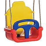WICKEY Babyschaukel 3 in 1 Babysitz verstellbar und mitwachsend Schaukelsitz (Rot-Gelb-Blau)
