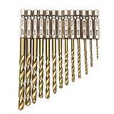 Fortag 13 tlg HSS Spiralbohrer Set mit Sechskantschaft Satz Bohrersatz Holz Holzbohrer Micro Bohrer Bithalter Drill Bit 1.5-6.5mm