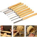uyoyous 8 Stück meißel set Kohlenstoffstahl drehmeissel set Stechbeitel Drechselmesser Schüsseldrehröhre Set Holzdrehung Werkzeugen für Das Drechseln Stabil