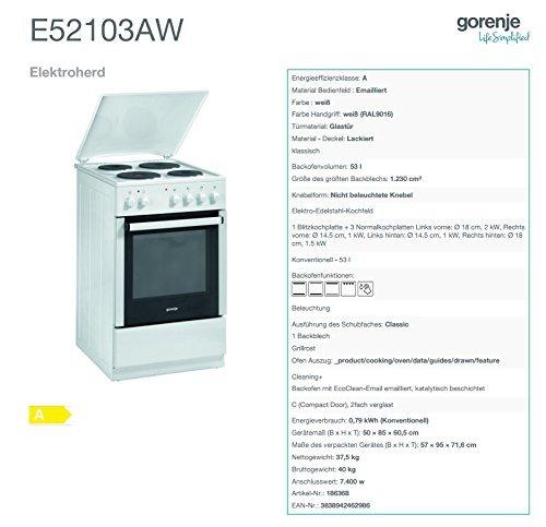 Gorenje E 52103 AW Elektroherd - 4