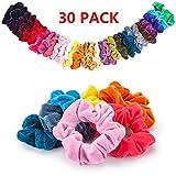 30 Farben Scrunchies, 30 Stück Haargummis Samt Bunt Haar Elastische Haarbänder Pferdeschwanz Haarband mit Tasche Bunten Inhaber Hair für Frauen Mädchen Haarschmuck
