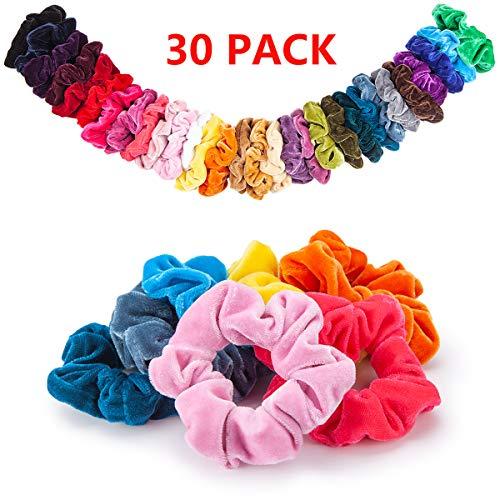 30 Farben Scrunchies, 30 Stück Haargummis Samt Bunt Haar Elastische Haarbänder Pferdeschwanz Haarband mit Tasche Bunten Inhaber Hair für Frauen Mädchen Haarschmuck -
