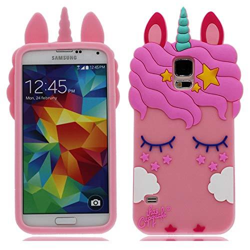YuanYuZhongPhoneSky Samsung Galaxy S5 Hülle 3D Karikatur Cover Schock-Absorption Mädchen Frauen case Slim Stoßfest Weiche TPU Stoßstange handyhülle für Samsung Galaxy S5 I9600 rosa