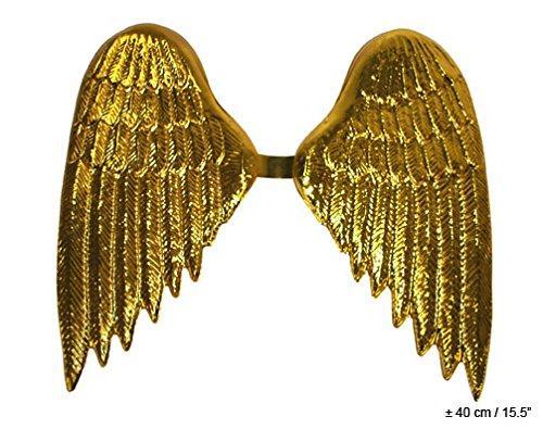 Engel Flügel Kostüm Zubehör - Flügel Engel - Farbe gold - ca. 40 cm Plastik - Karneval Kostüm Zubehör Accessoires -
