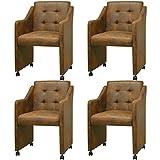 vidaXL 4x Esszimmerstuhl mit Rollen Braun Stuhlgruppe Küchenstuhl Sessel