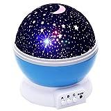 kanorine Nachtlicht Multicolor Star Sky Moon Musik Light Star Projektion Lampe Romantische drehbar Projektor für Kinder Kinder Schlafzimmer Mood Lights MUSICAL BLUE
