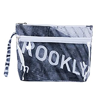 AQUALONA Wash Bag | Toiletry Storage Case for Home or Travel | Top Zipper Closure, Side Zipper Pocket | Carry Strap | Large, New York City Design, Grey/White/Black