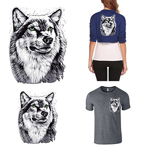 Dabixx Parches ropa Wolf parches transferencia calor
