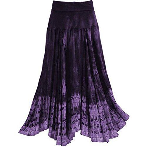 Yying Falda Larga Mujer Talla Grande Boho Cintura Alta Elegantes Vintage Hippies Boho Falda Costura de Encaje Plisada Ropa Algodón Larga Faldas S-5XL