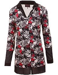 c6ef6ba6c379 Sempre Piu Langarmshirt Damen Shirt lange Ärmel Polokragen V-Ausschnitt Schwarz  Rot All-Over