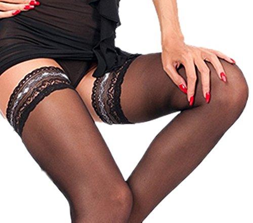 Halterlose Strümpfe mit farbigen Spitzen und Silikonstreifen schwarz, haut oder weiß 20 den (L-XL, schwarz) (Strümpfe Farbige Halterlose)