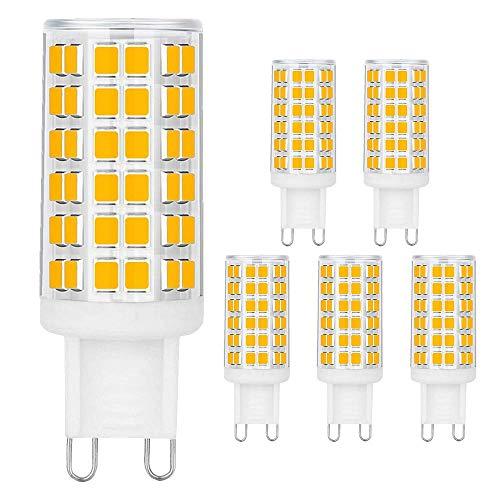 Eterbiz G9 LED Lampen, Kein Flackern 6W G9 LED Ersatz 60W G9 Halogenlampe, 3000K warmweiß G9 LED Leuchtmittel, 540 lumens, 360° Abstrahlwinkel, AC220V-240V, 6er Pack -