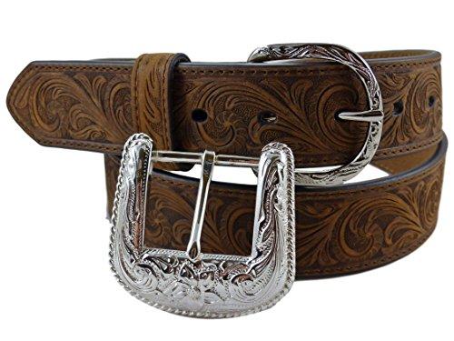 Nocona USA Western Gürtel floral tooled Cowboy Cowgirl Braun 36