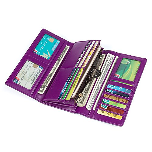 BOSTANTEN Damen Echtes Leder Clutch Portemonee Geldbörse Handtasche Großer Rabatt On Sale Lila (Rabatt Geldbörse)