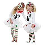 Kinderrock Mädchen,Sannysis Kinder Baby Mädchen Deer T-shirt Tops + Gestreiftes Tüll Tutu Hosen Weihnachten Outfits Set(1-5Jahre)
