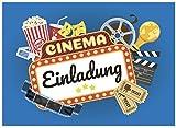 16 Einladungskarten zum Kindergeburtstag - Kino Film - für Kinder, Jungen, Mädchen,Feier Geburtstagseinladungen im Set