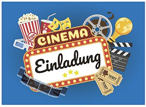 16 Einladungskarten zum Kindergeburtstag Kino Film Party - Einladungen für Kinder zum Geburtstag im Set