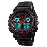 Amstt Unisex Sportuhren Digital Uhr Herren Damen Jungen Armbanduhr Militär Uhren mit Licht Wecker 5ATM Wasserdichten Outdoor Analog Digital Stoppuhr-Rot