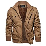 Riou Herren Bomberjacke Winterjacke Winter Baumwolle Militär Jacken Pocket Tactical Verdicken Übergangs Mäntel Draussen Windbreaker Hochwertig Fliegerjacke (M, Khaki B)