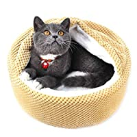 Winsterch Soft Cosy Plush Cat Dog Bed,Fleece Nesting Dog Cave Pet Bed for Cat and Puppies with Cover,13.78x13.78x5.91 inches (Khaki)