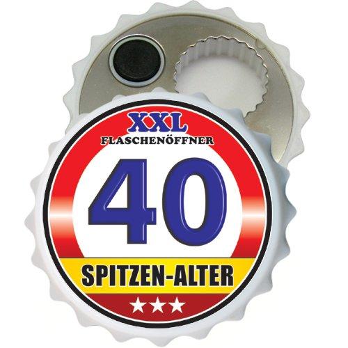 (Großer XXL Flaschenöffner Kapselöffner Flaschenöffner Bier Öffner sehr robust mit Hochglanz Etikett für Männer Männergeschenke verschiedene Anlässe (Zum 40. Geburtstag Spitzen Alter 32066))