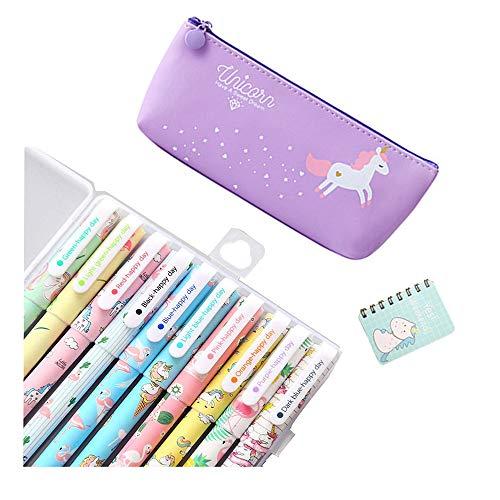 Smilestar - Juego de 10 bolígrafos de unicornio con diseño de unicornio y 1 estuche de lápices de unicornio y 1 cuaderno de unicornio, regalo de cumpleaños para niñas, color morado