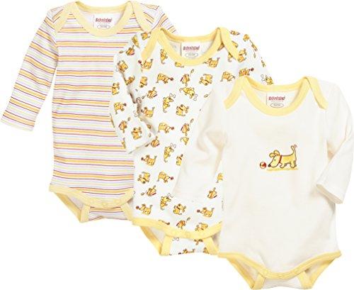 Schnizler Unisex Baby Body Langarm, 3er Pack Hund, Oeko-Tex Standard 100, Gelb (Original 900), 74 (Herstellergröße: 74/80)