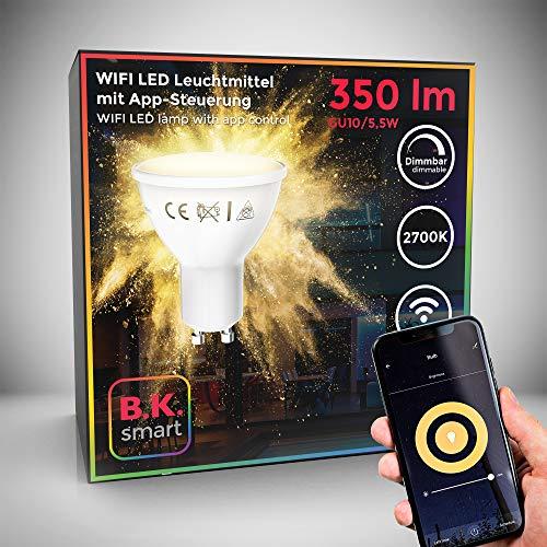 lampadina led smart gu10, dimmerabile con lo smartphone, luce calda 2700k, funziona con app per ios e android, amazon alexa, google home, lampadina wi-fi, 5.5w 350lm, attacco da faretto gu10