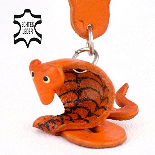 Schlange Kaa - Spielzeug Schlüsselanhänger Figur aus Leder in der Kategorie Kuscheltier / Stofftier von Monkimau in braun - Dein bester Freund. Immer dabei! - ca. 4cm klein (Heel 30 Mm)