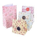 13 * 8 * 23cm 24 Pezzi Sacchetti Bustine di Carta Borse per Alimenti Cibo Dolci Regalo Caramella Biscotti Gioielli Paper Bags (adesivi inclusi)