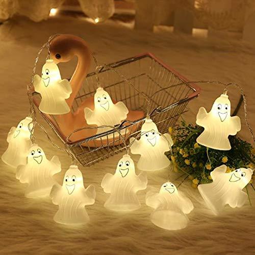 YOUNICER 2019 Ghost String Lights Halloween Ghost Lights 3.8 m 16 LED Lichterketten für Halloween Party Patio Warmweiß (And 2019 Light Halloween-power)
