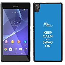 "STPlus ""Keep Calm and Swag On"" Carcasa Funda Rigida Para Sony Xperia T3"