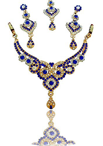 Neckles set For Women & Girls.GOLD Plated Australian Diamond Choker Necklace With Earrings Set For Womesn from JewelTech. High Quality Crystal Clear Rhinestone & Enamel. Suitable For Wedding, Festival, Traditional & Daily Wear. Premium Quality Metal Used & Precise Finishing.  available at amazon for Rs.159