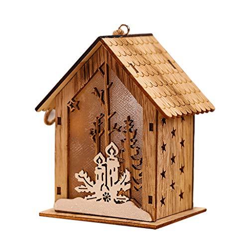 Dasongff Weihnachten Deko Holz, LED Leuchte Hängende Verzierungen Christbaumschmuck 3D Holz Haus mit LED Licht Weihnachten Draußen Deko für innen, Haus, Weihnachten