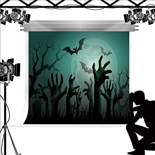Hintergrund Moon Night Hintergrund Zombie Hände Foto Booth für Halloween Kinder Fotografie 7 x 5ft/ 2.2x1.5m (Photocall Halloween)