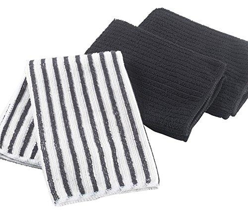 Ligne Décor Lot de 3 Torchons Microfibre 2 Unis/1 Rayé Cuistot Coton Noir 40 x 40 cm