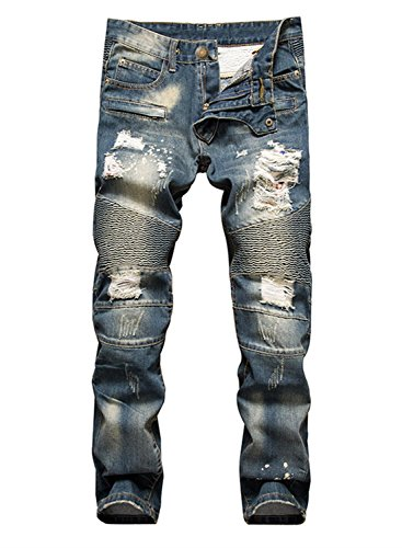 AIYINO Mens Heavy Duty Basic Straight Leg Slim Fit Stretchable Denim Jeans Pants All Waist